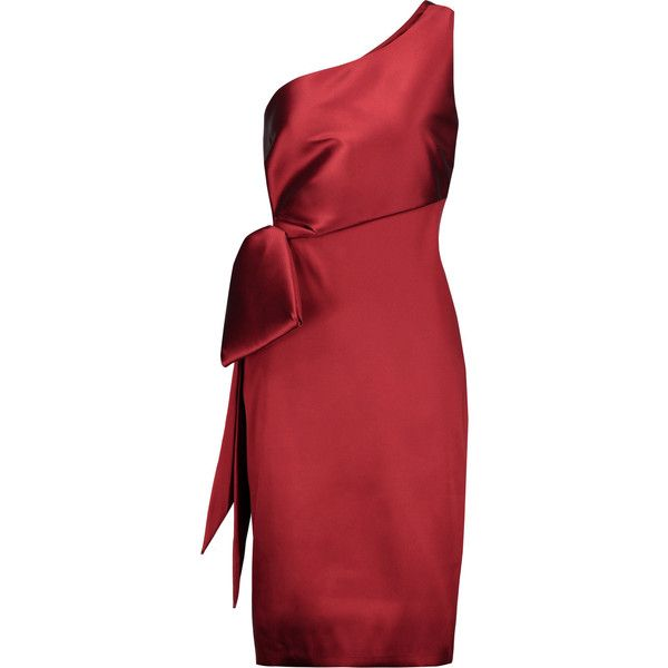 Noir Sachin & Babi - Audrey One-shoulder Bow-embellished Satin-twill... ($259) ❤ liked on Polyvore featuring dresses, claret, one shoulder cocktail dress, cocktail dresses, evening dresses, one sleeve cocktail dress and red holiday dress