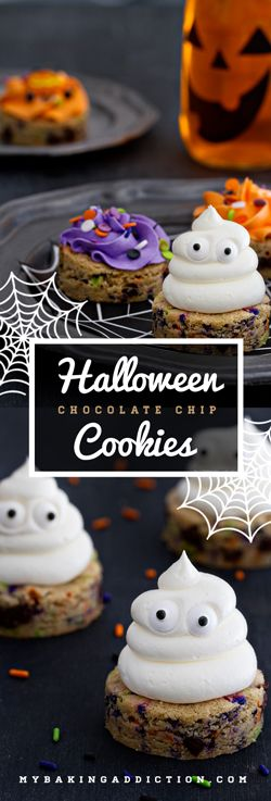 Halloween Chocolate Chip Cookies will bring joy to your Halloween. Sprinkles and buttercream--yes! from @bakingaddiction