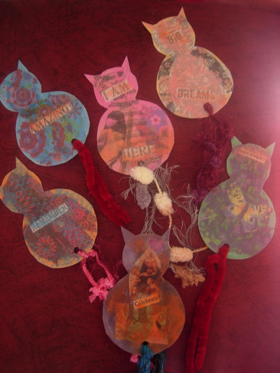 Whimsical Cats Mixed Media Art Illustrated Laminated by eltsamp, $30.00