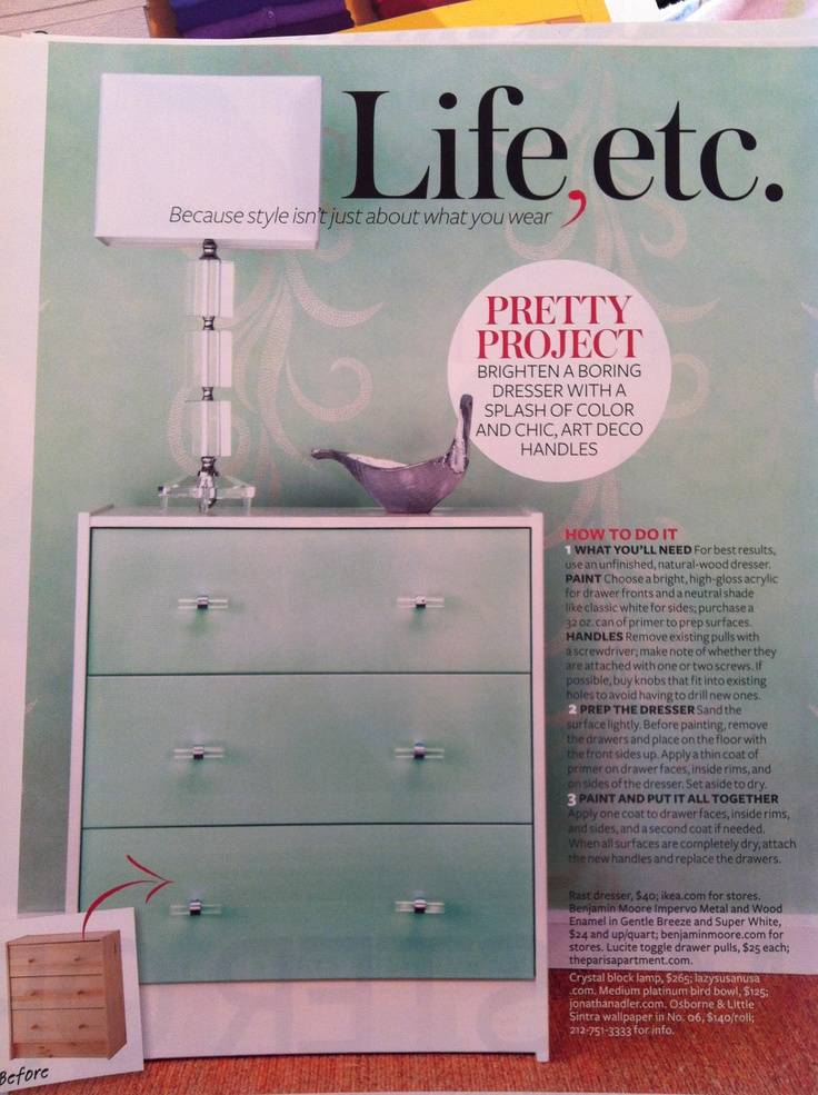 DIY Dresser (Except with grey and then either teal or pink drawers.)