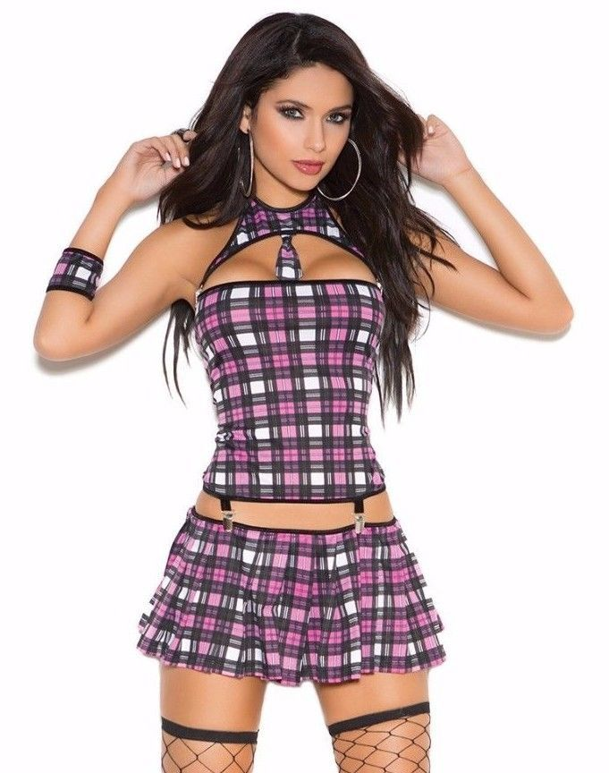 Sexy Schoolgirl Costume Large L Women Role Play Halloween Pink Plaid Naughty #ElegantMoments #CompleteCostume