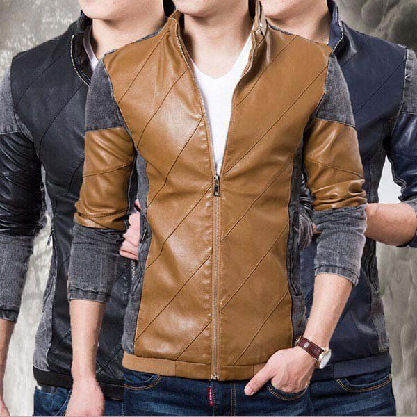 Handsome Slim Men Coat Leather Jacket of Splicing Stand Collar/79180 via AmaSell. Click on the image to see more!