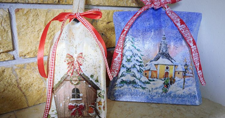 Η τεχνική της χαρτοπετσέτας είναι ένας πολύ ωραίος τρόπος για να στολίσουμε τα φτυαράκια μας, χριστουγεννιάτικα φτυαράκια ντεκουπάζ λοιπόν. Φαίνονται σας να είναι ζωγραφισμένα στο χέρι και όμως είναι από χαρτοπεσέτες.
