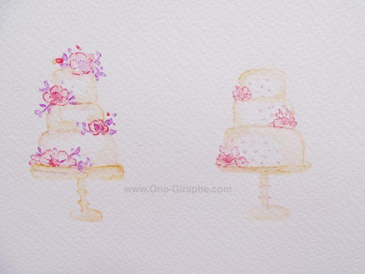 Watercolor pencils - Wip- Cakes - Logo Design #logo #logodesign #cake #cupcake #bakery #draw #paint #etsy #bakers