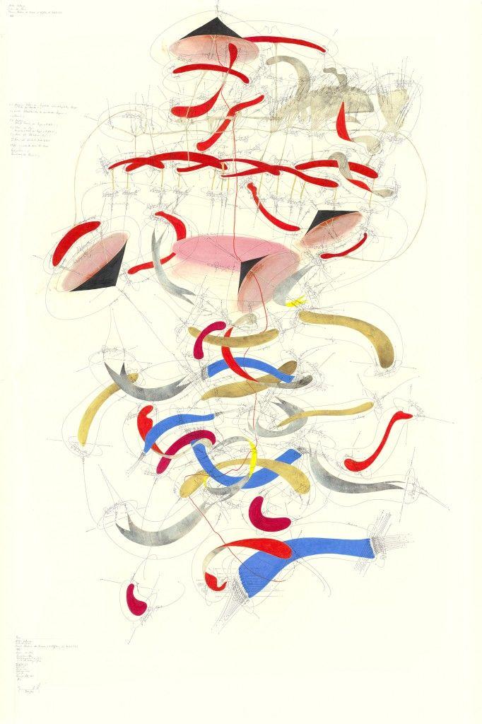 Jorin de Voigt WV 2013-167 Passio (Niklas Luhmann/ Liebe als Passion/ Passion: Rhetorik des Exzesses und Erfahrung der Instabilität (XXI)); Matrix 1-191; Rotationsrichtung; Rotationsgeschwindigkeit; 1-95 Umdrehungen/ Tag; Vorgestern → ∞; Gestern → ∞; Heute → ∞; Morgen → ∞; Übermorgen → ∞; Egomotion; Himmelsrichtung N-S; Now; Jorinde Voigt; Berlin 2013; 210 x 140 cm; Tinte, Bleistift, Gold, Pastell, Ölkreide auf Papier; Unikat; Signiert