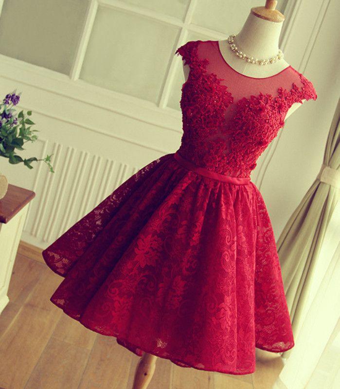Red Short Lace Prom Dresses,Cap Sleeve Homecoming Dresses,Appliques Homecoming Dresses,Cheap Prom Dresses