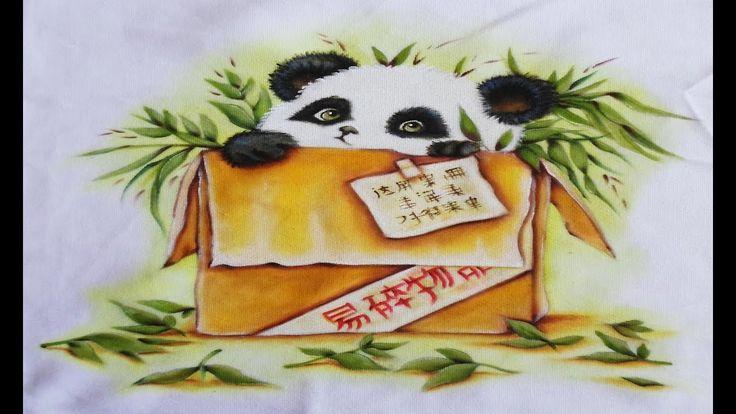 Pintura em Tecido Panda na Caixa