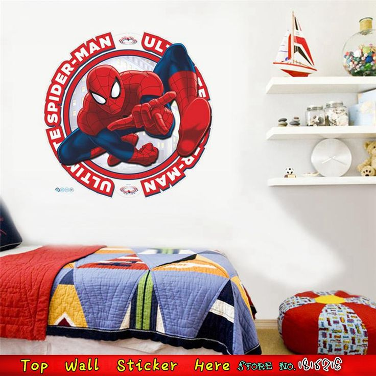 Fashion Kids Wall Stickers Heros Spiderman Wall Decals  Marvel Style Wall Paper Paste Home Decoration 3D Superheros Wallpaper