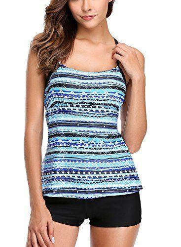 #beachaccessoriesstore CharmLeaks Womens Tankini Set Swimsuit With Swim Shorts Tankini Swimsuits Tankinis:… #beachaccessoriesstore
