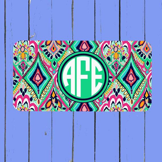Lily Pulitzer Inspired License Plate-Monogram by simplycases