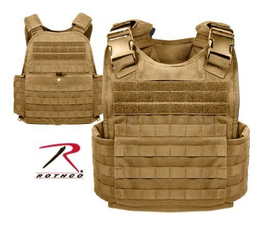 Coyote Tan Military MOLLE Tactical Plate Carrier Assault Vest Rothco. $71.49