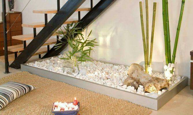 Zen garden under stairs