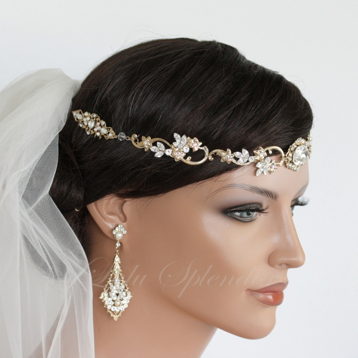 Wedding Hair Accessory Gold Forehead Band Vintage Headband Swarovski Rhinestone Halo Headpiece ...