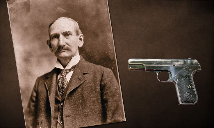 "Although outlaw Frank James started riding the ""owl hoot trail"" with percussion black powder revolvers, in his later years he packed a Colt 1903 Hammerless .32 ACP Pocket Auto, similar to the one shown here, to defend his life. True West told its story.   — Frank James photo courtesy Library of Congress, Colt 1903 courtesy Phil Spangenberger —"