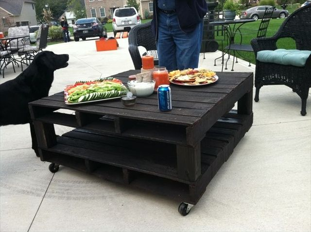 Black color outdoor pallet coffee table.  - Wooden Pallet Furniture