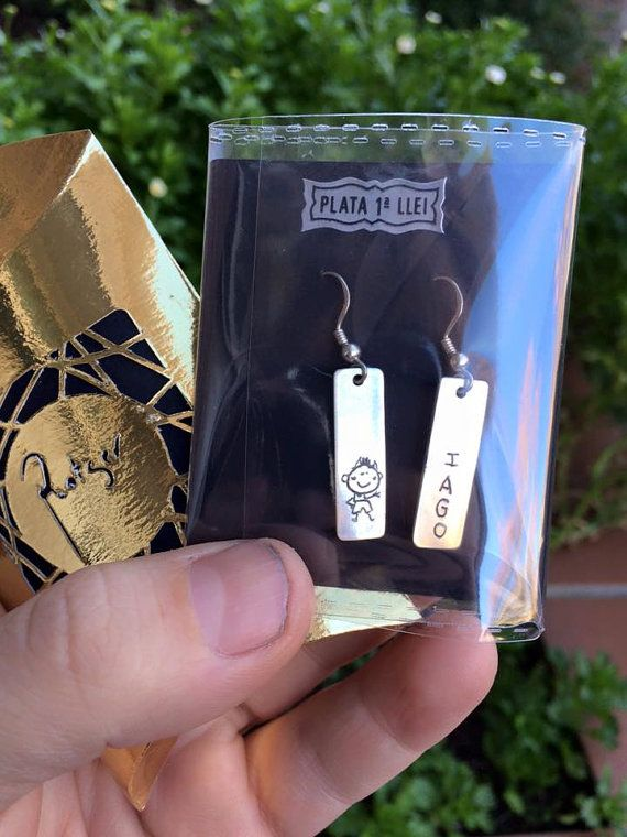 Pendientes de plata de ley rectangulares por ROTGERjewelry en Etsy