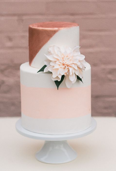 Color Inspiration: Trending Copper Wedding Ideas in 2015 - wedding cake idea; Erica O'Brien Cake Design