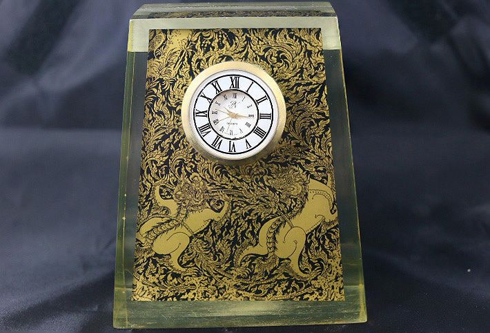 Antique Parker Desktop Clock Thailand Gilt And Black Lacquered Decorative Arts