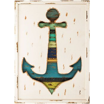 Striped Anchor Cut-Out Wooden Wall Decor - Hobby Lobby $40 (when half off)