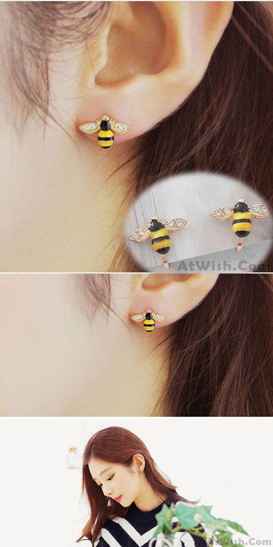 Cute Gold Plated Bee Diamond-bordered Wings Cartoon Women Animal Ear Clip for big sale! #cartoon #women #clip #animal #wings #bee #earrings