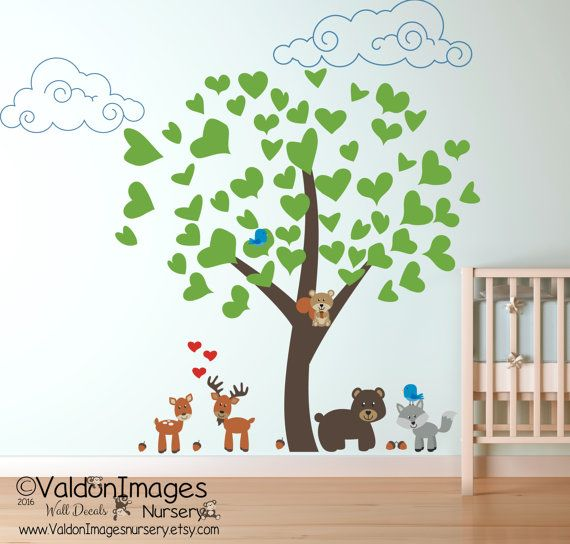 Woodland Animals Wall Decal, Nursery Wall Decal, Tree Wall Decal, Animal  Wall Decal, Nursery Decals, Babies Room Decor, Kids Wall Decal