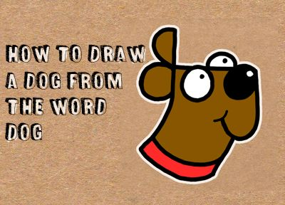 Learn how to draw a cute cartoon dog's face out of the word 'DOG' with the following simple steps. Can you write the word 'dog'? If so, then you will find it very easy to draw this cartoon dog.