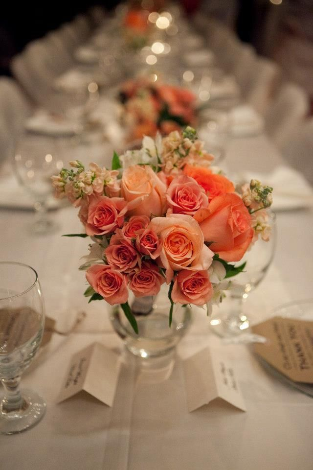 coral peach reception wedding flowers,  wedding decor, wedding flower centerpiece, wedding flower arrangement, add pic source on comment and we will update it. www.myfloweraffair.com can create this beautiful wedding flower look.
