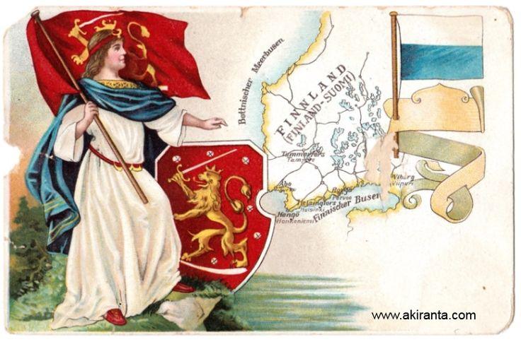 Harvinainen postikortti 1900-luvun alusta. Suomi-neito ja leijonalippu sekä Suomen vaakuna. Oikeassa kulmassa topeliaaninen, sinivalkoinen lippu.