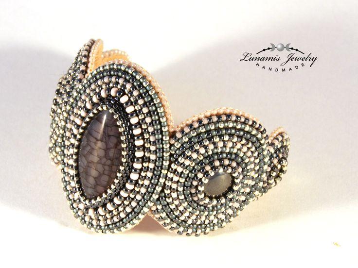 bracelet, bead embroidery, beading, toho, handmade, jewelry, manchette, bead, Lunamis
