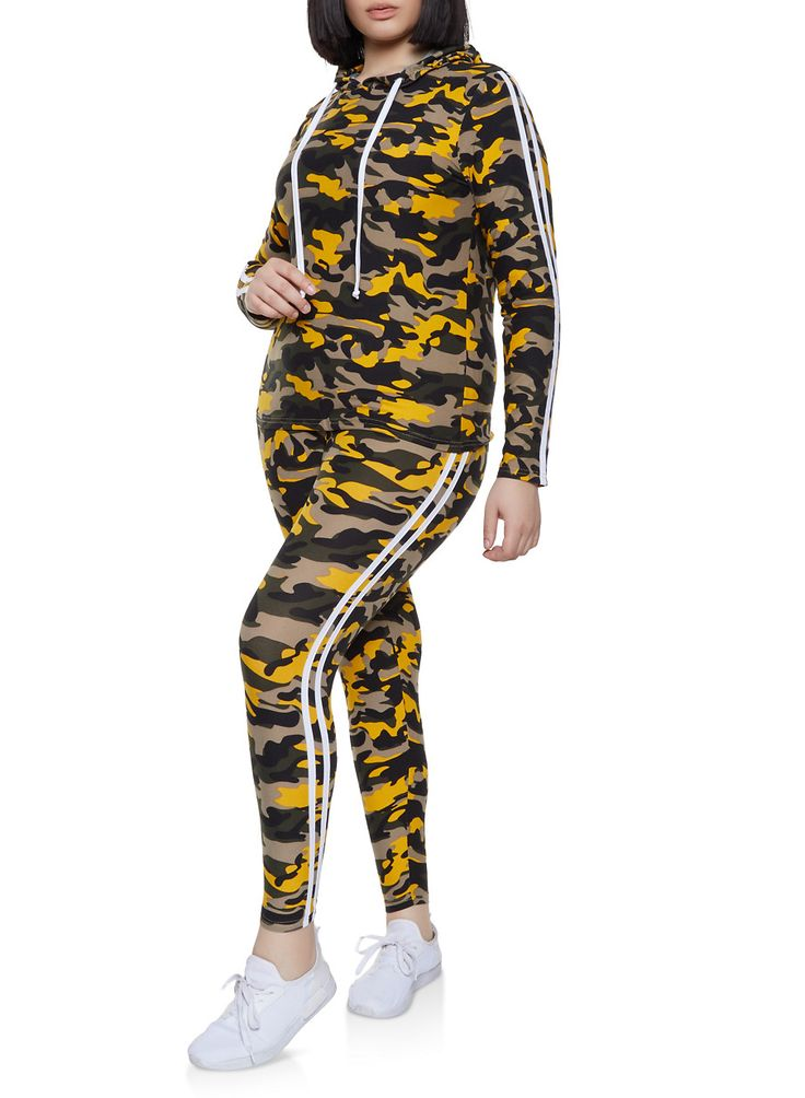Plus Size Varsity Stripe Camo Top with Leggings 3