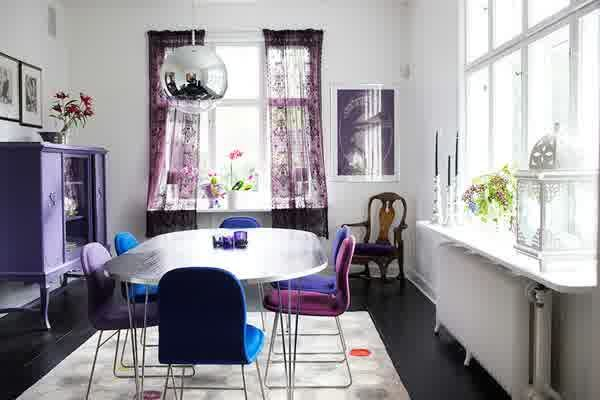 Interior How to Affects Your Mood using Room Color: Awesome Purple Room Colors With Table And Chair Dark Laminated Flooring Cabinet Arm Chair Window With Curtain Pendant Lamp
