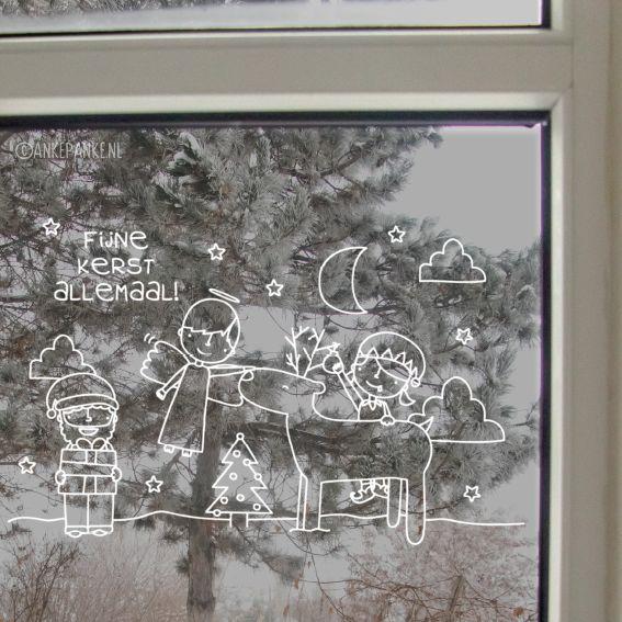 Lief winter tafereel #raamtekening met kerstman, engel, elfje en rendier. Fijne kerstmis allemaal!