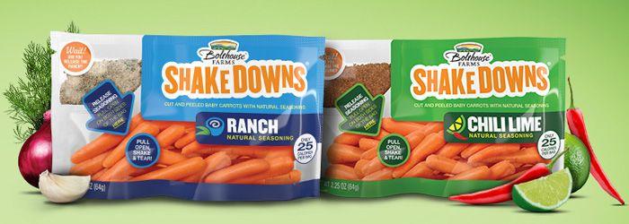 Bolthouse Farm est une marque canadienne qui propose des sachets de jeunes carottes fraiches associées à des saveurs à mélanger juste avant la dégustation
