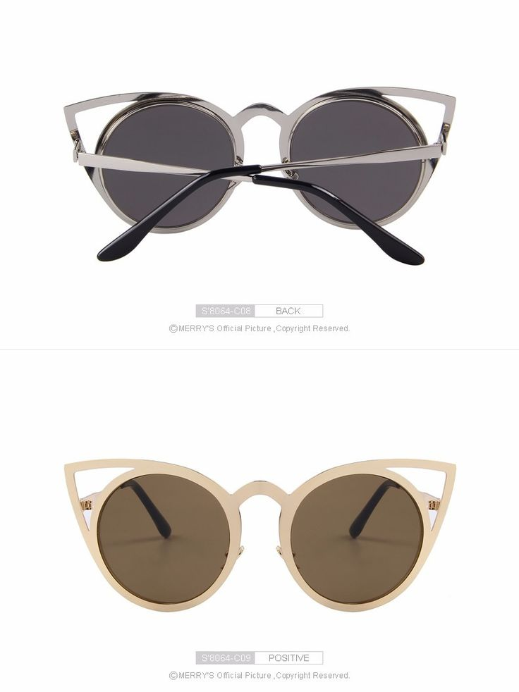 Cat Eye Frame Designer Mirror Sunglasses