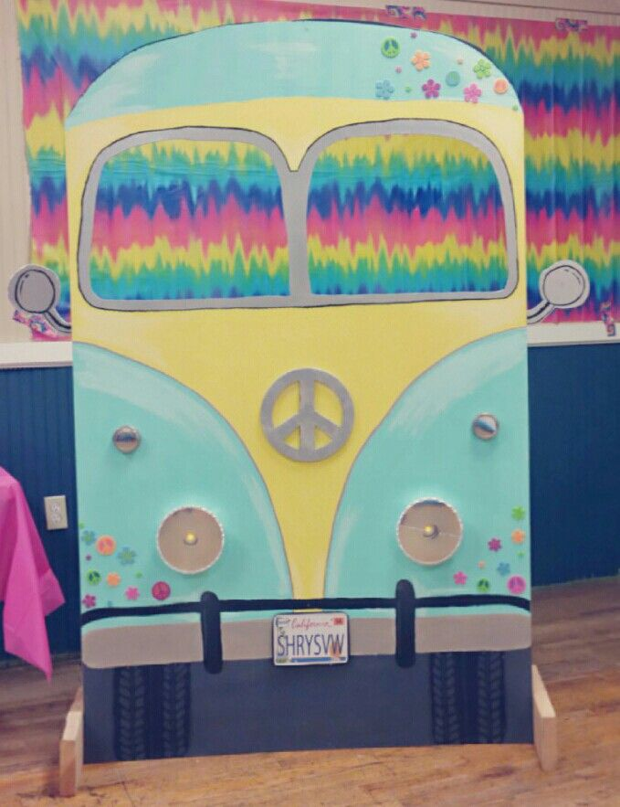 Volkswagen Bus/Van I made for a hippie 60s party. So much fun for a photo booth and easy to do. VW hippie 60s tye dye                                                                                                                                                                                 More