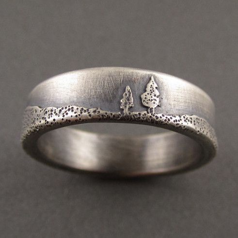 Conifer Couple Sterling Silver Wedding Ring