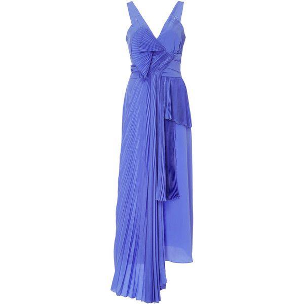 Rochas Pleated Silk Dress ($1,985) ❤ liked on Polyvore featuring dresses, purple, purple cocktail dresses, blue pleated dress, pleated cocktail dress, blue cocktail dress and silk dress