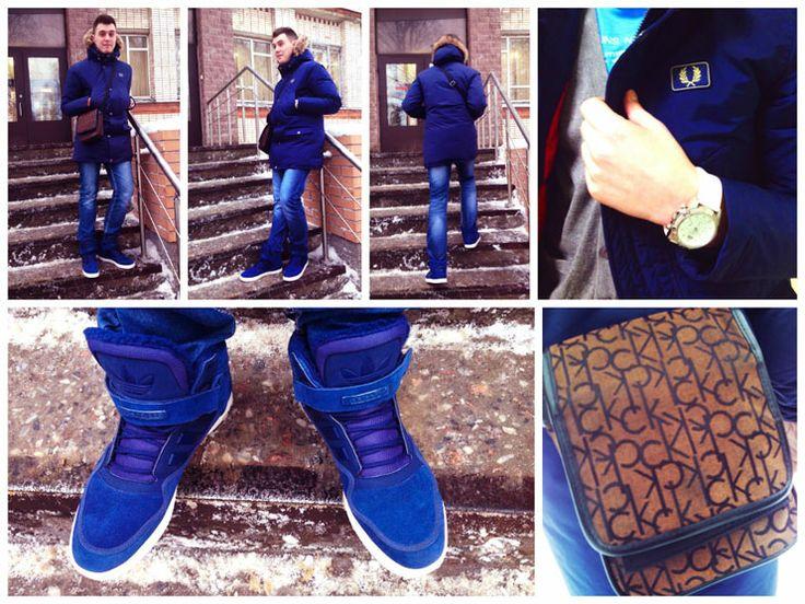 Куртка: Fred Perry Джинсы: no name Кеды: Adidas Кардиган: Marks and Spencer Футболка: Jack & Jones Часы: Guess Сумка: Calvin Klein Шарф: Ostin