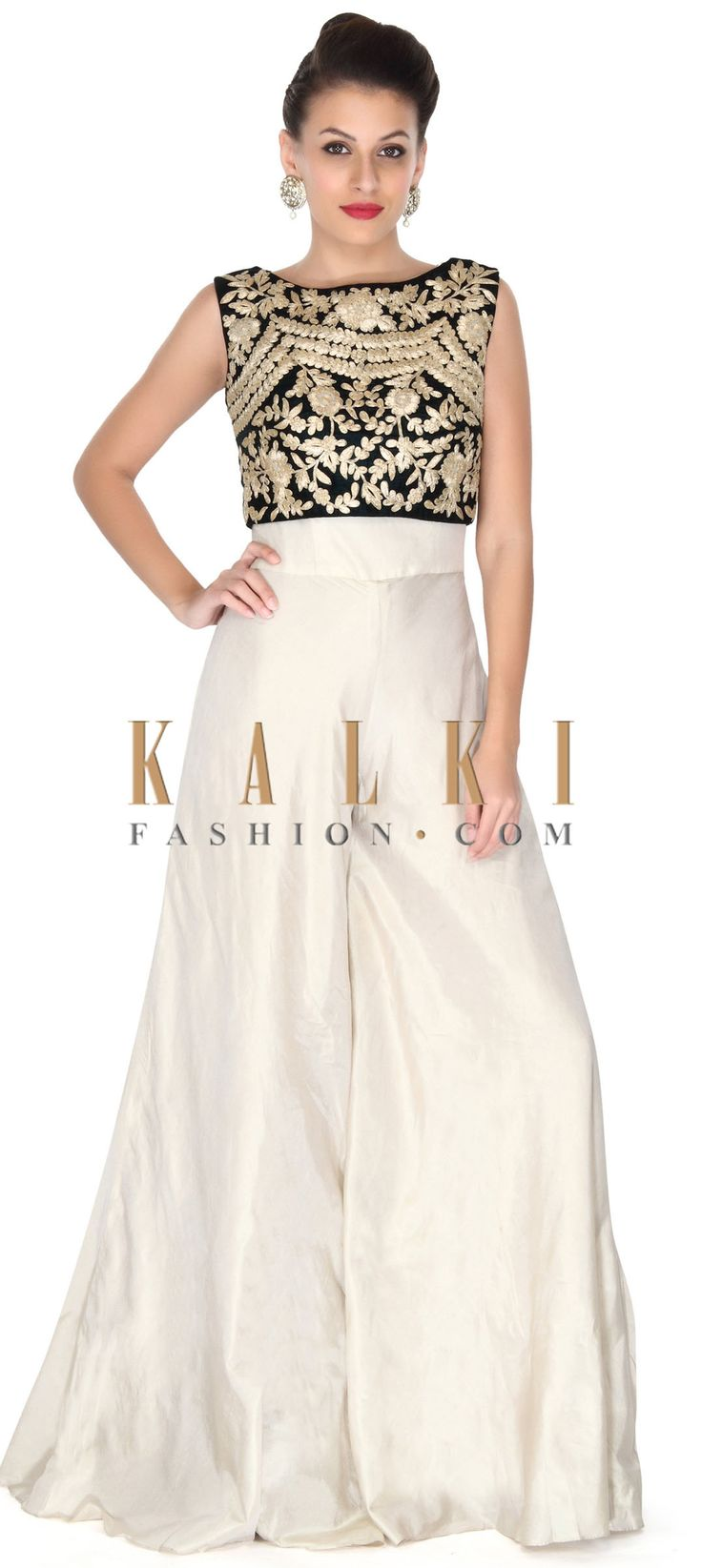 Buy this Cream jumpsuit with zari embroidered crop top only on Kalki