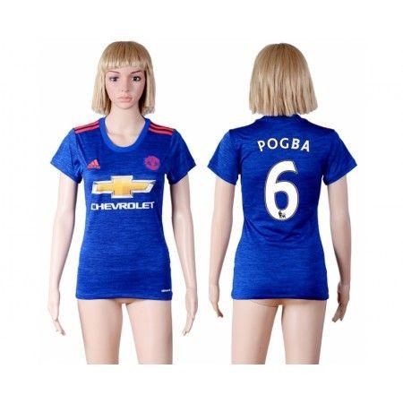 Manchester United Fotbollskläder Kvinnor 16-17 Paul #Pogba 6 Bortatröja Kortärmad,259,28KR,shirtshopservice@gmail.com