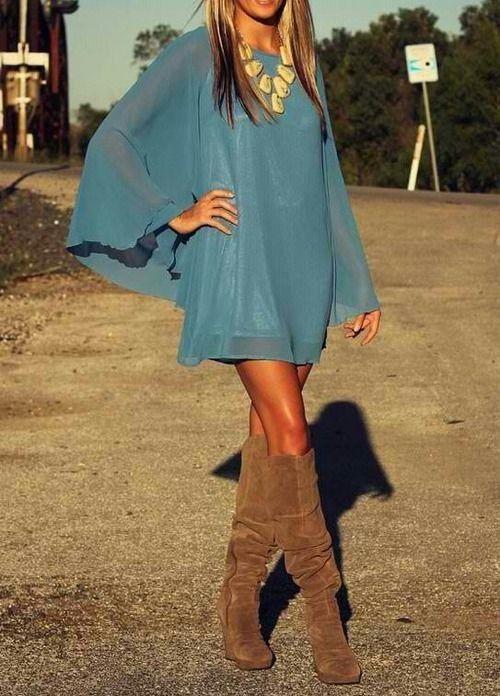 Flowy dress + boots.