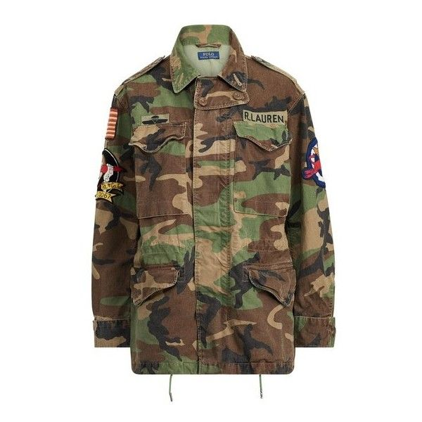 Polo Ralph Lauren Camo Military Combat Jacket (4.096.310 IDR) ❤ liked on Polyvore featuring outerwear, jackets, military camouflage jacket, polo jackets, military style jacket, american flag jacket and camouflage jacket