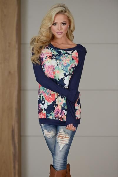 Always Upbeat Floral Hooded Top - Navy