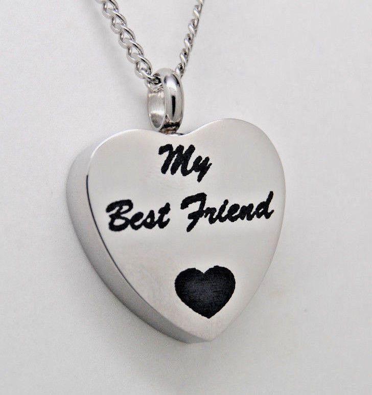 MY BEST FRIEND URN NECKLACE CREMATION JEWELRY HEART URN MEMORIAL KEEPSAKE URN