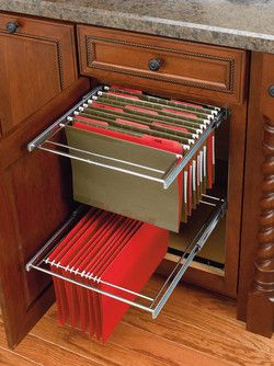 Two-Tier Pull-Out File Drawer System for Kitchen or Desk Cabinet by Rev-A-Shelf - Features Full-Extension Ball Bearing Slides | KitchenSource.com #kitchensource