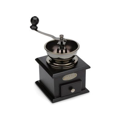 Features:  -Adjustable to deliver a precise grind from fine to coarse.  -Drawer holds 1/3 cup of ground beans.  -Crank handle.  -Wood construction.  Grinding Method: -Blade.  Finish: -Dark brown.  Gro