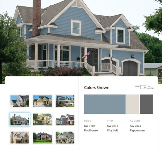 Traditional exterior paint palette with blue & gray colors from Sherwin-Williams.: Houses Colors, Gray Colors, Paintings Colors, Exterior Colors, Colors Palettes, Colors Exterior, Colors Inspiration