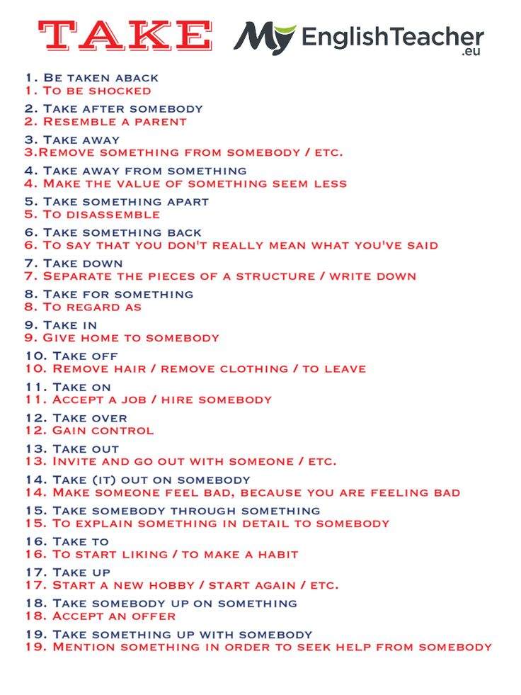 19 Most Common Phrasal Verbs with Take! - MyEnglishTeacher.eu