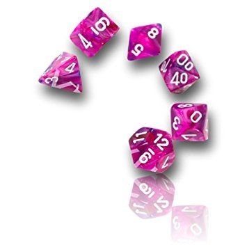 Custom & Unique {16MM Medium Size} 7 Ct Pack Set of [D4, D6, D8, D10, D12, D20] Opaque Playing & Game Dice w/ Shiny Swirled Poinsettia Flower Girl Design for Role Playing RPG Dungeon & Dragon [Pink, Purple, & White]
