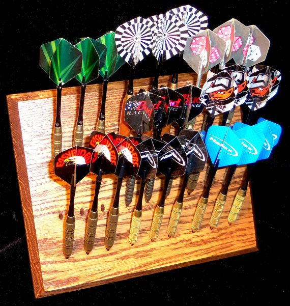 Deluxe - Custom dart rack and desktop display - Multiple styles! Light , Medium , Dark Oak, Ebony, Clear Coat - FREE FEET and Keyholes!!